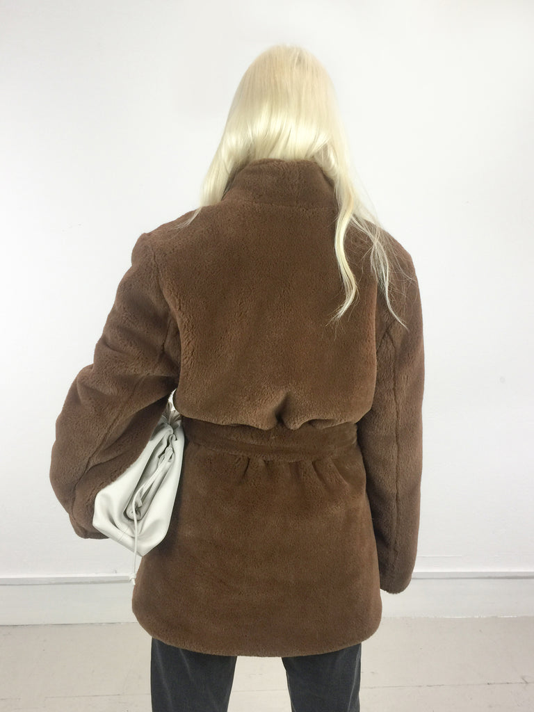 Sample Sale - Faux Fur Shawl Collar Belted Jacket