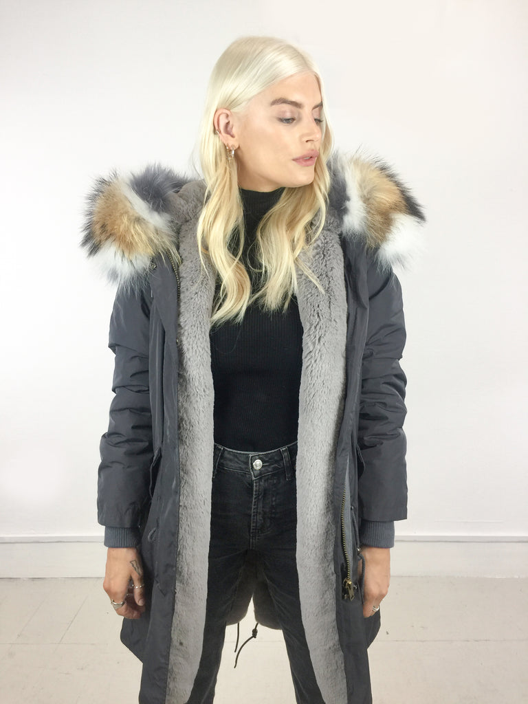 Sample Sale - Natasha long [Grey Nylon Outer/ Faux lining/ Real Fur Hood]