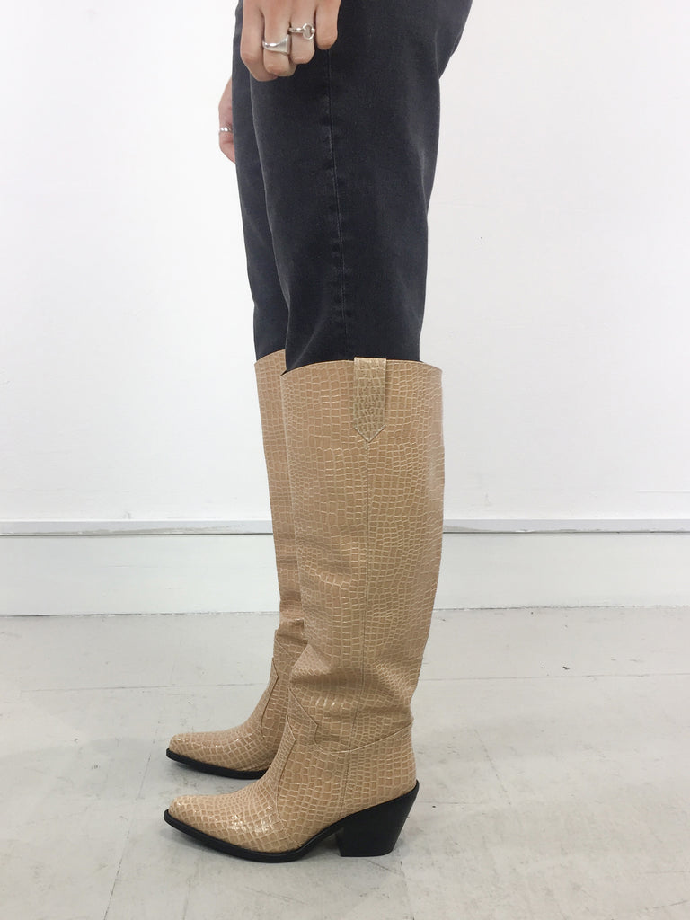 Sample Sale - Beige Croc Knee Heel Boots