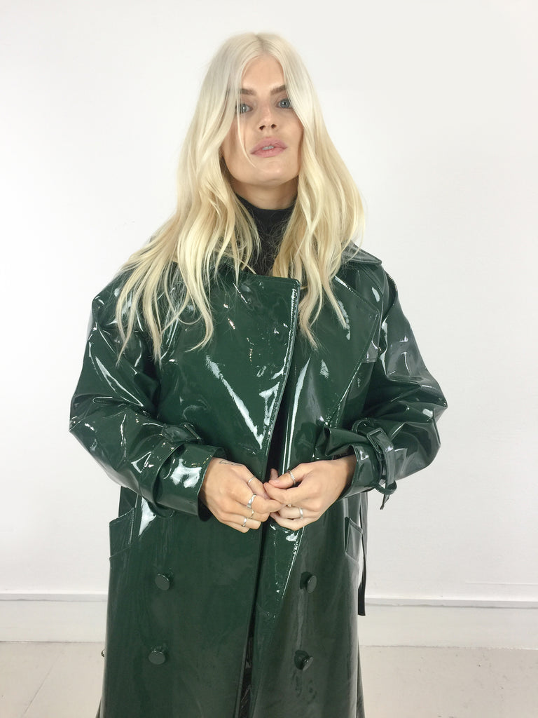 Sample Sale - Forest Green Vinyl Oversize Trench