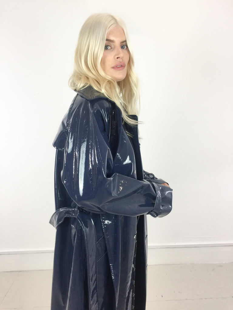 Sample Sale - Navy Vinyl Oversize Trench