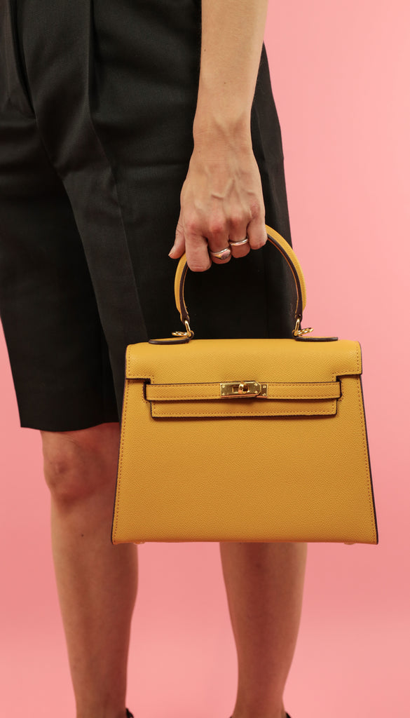 HANDHELD STRUCTURED BAG - 100% LEATHER - MUSTARD
