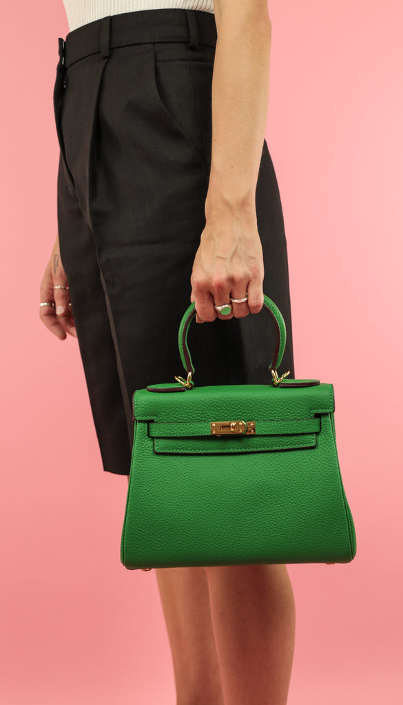 HANDHELD STRUCTURED BAG - 100% LEATHER - GREEN