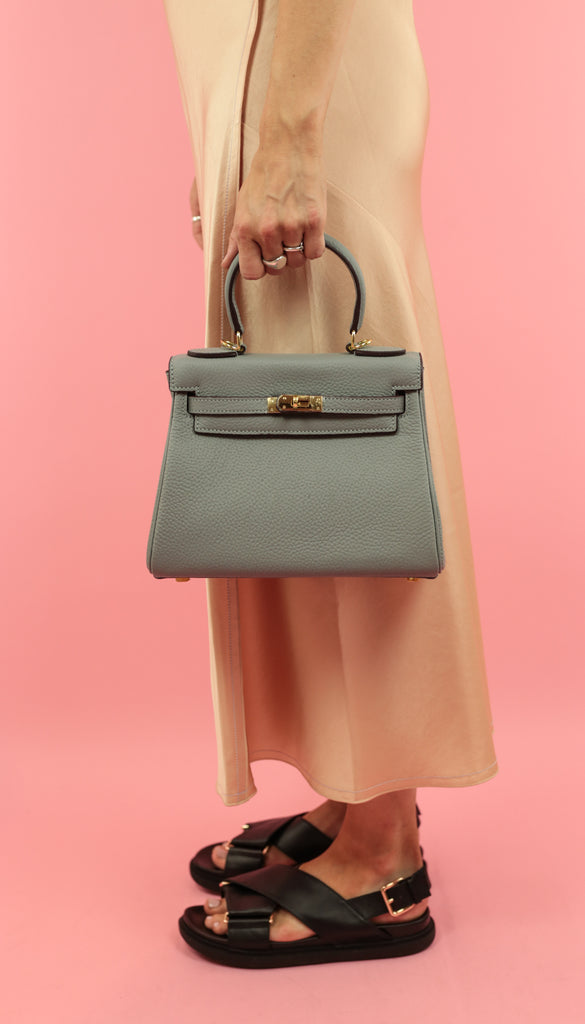 HANDHELD STRUCTURED BAG - 100% LEATHER - GREY
