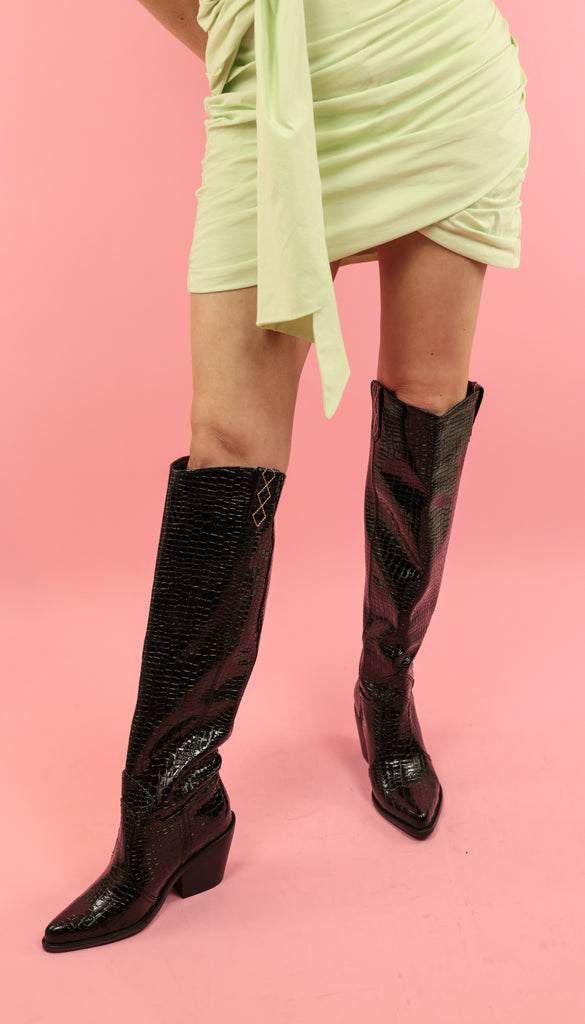 MARILYN - PATENT CROC LEATHER BOOT - BLACK