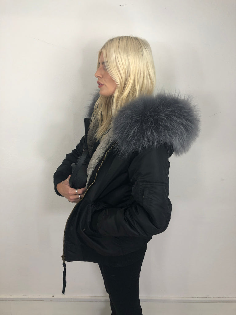 Sample Sale - Classic Bomber Black Outer Grey Faux Grey Fox Fur Hood
