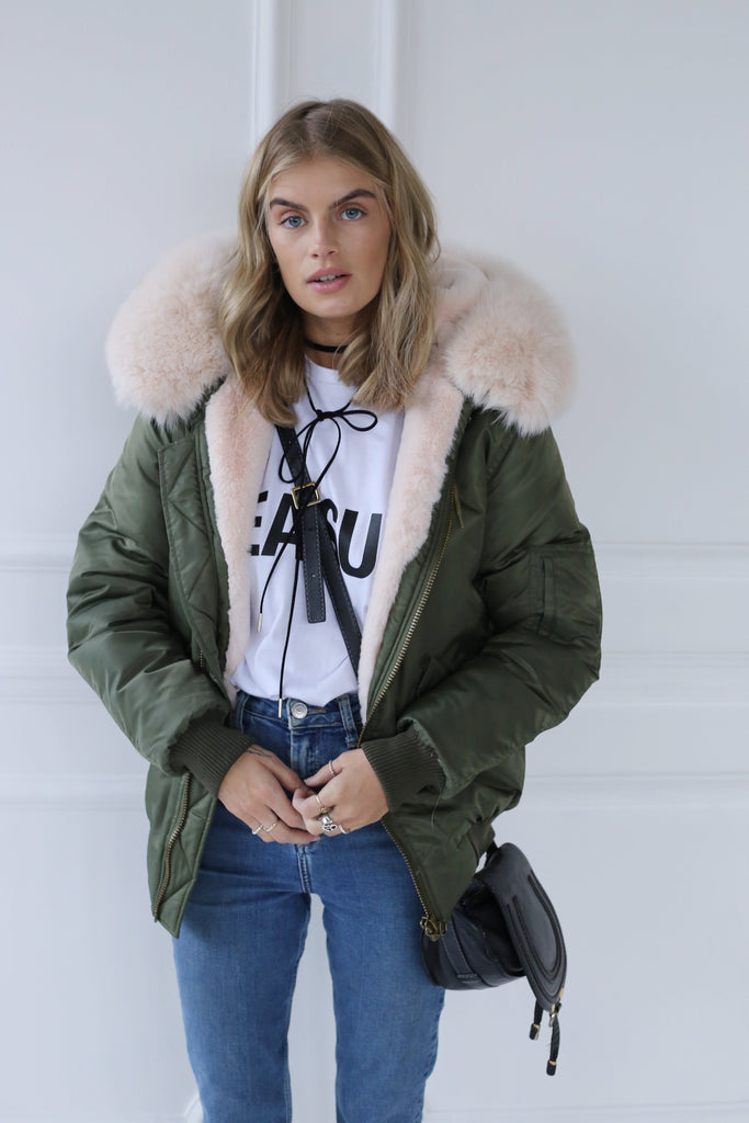 Green Classic Short Bomber Jacket - Nude