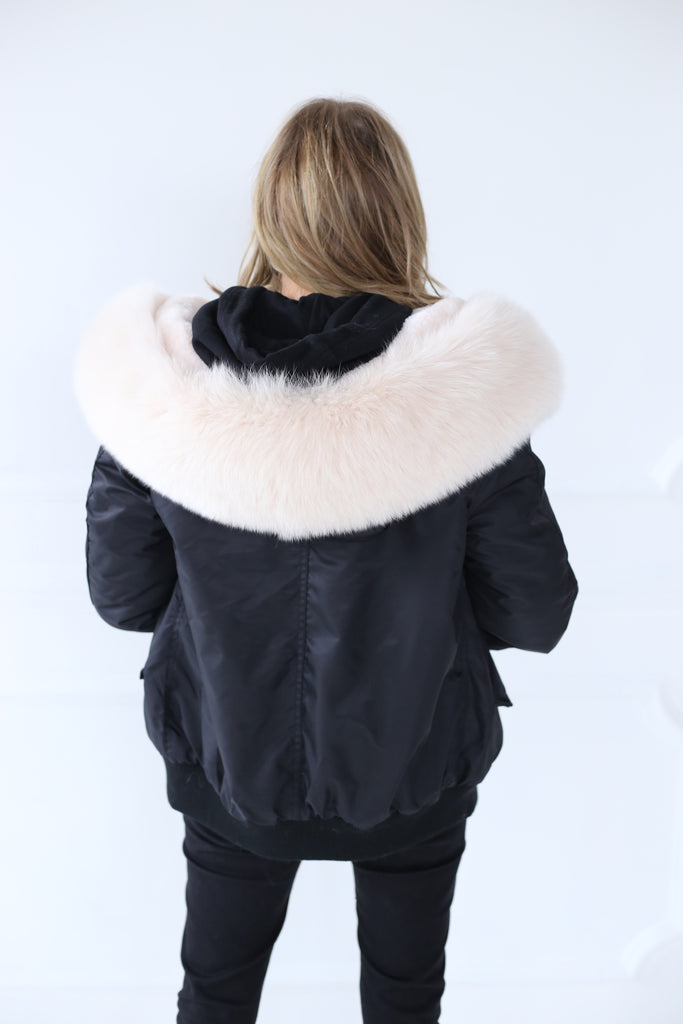 Classic Bomber Jacket With Faux Fur Lining & Real Fur Hood - Black/Nude