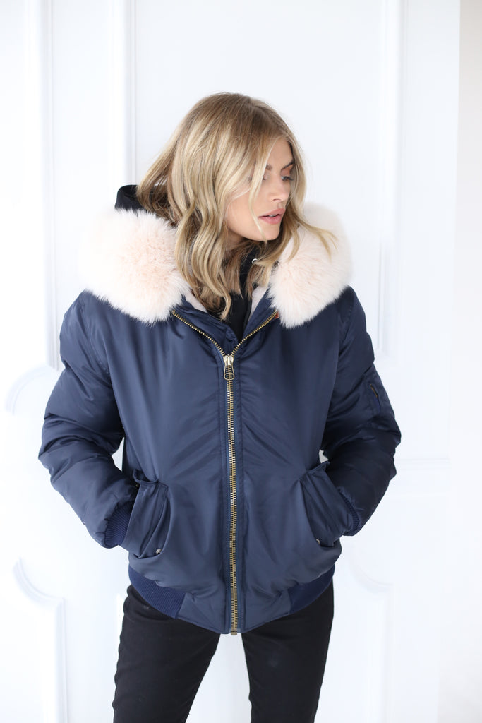 Classic Bomber Jacket With Faux Fur Lining & Real Fur Hood - Navy/Nude