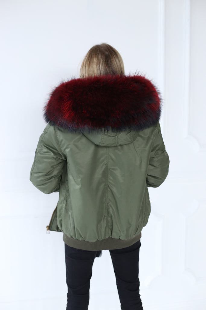 Classic Bomber Jacket With Faux Fur Lining & Real Fur Hood - Green/Red