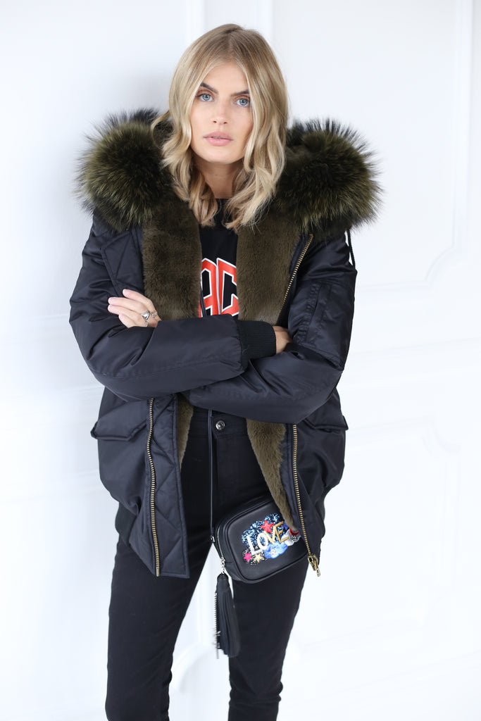 Classic Bomber Jacket With Faux Fur Lining & Real Fur Hood - Black/Olive