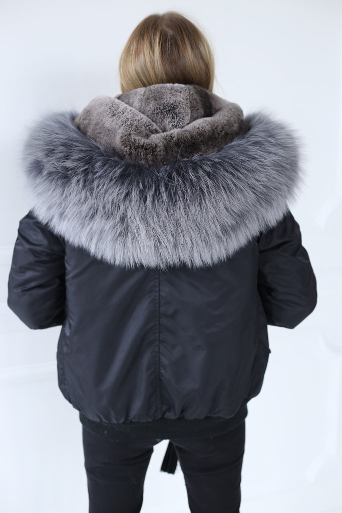 Classic Bomber Jacket With Faux Fur Lining & Real Fur Hood - Black/Grey