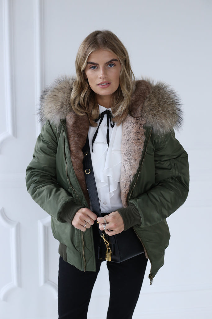 Classic Bomber Jacket With Faux Fur Lining & Real Fur Hood - Green/Natural