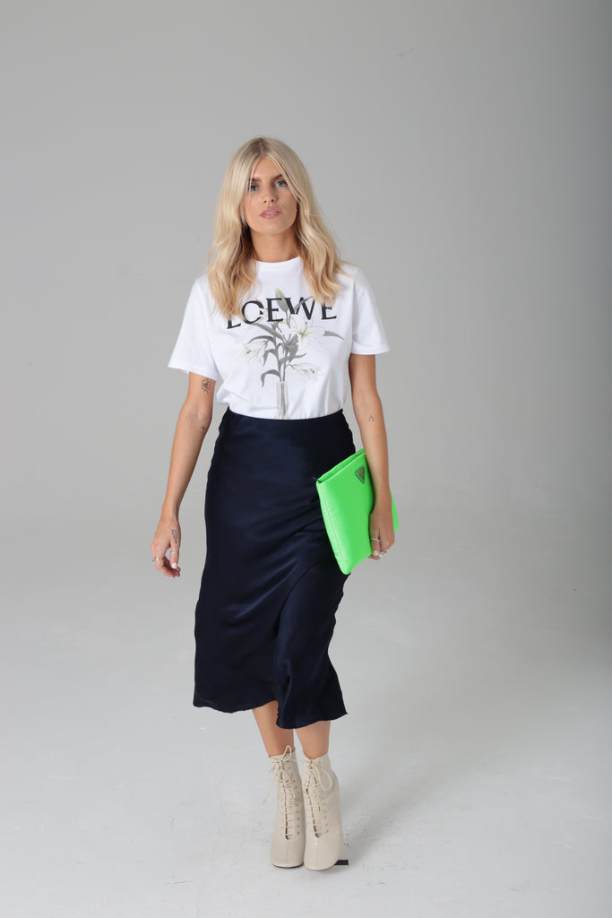 Bias Cut Navy Blue Silk Skirt