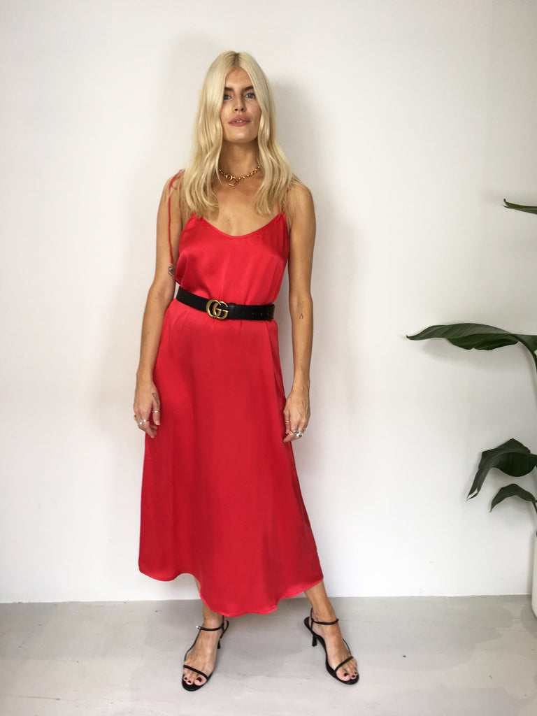 Sample Sale - 100% Silk Sophie Red Slip Dress
