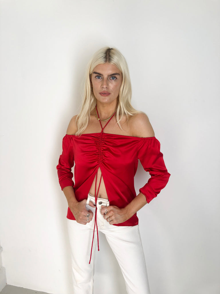 Sample Sale - 100% Silk Satin Red Ruched Top