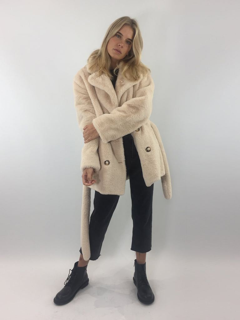 Sample Sale - Nude Faux Fur Belted Short Coat