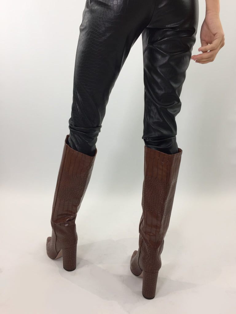 Sample Sale - Cognac Croc Faux Leather Boots