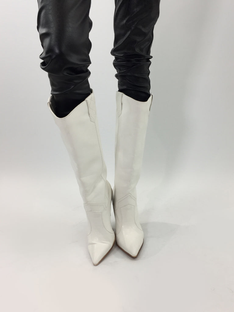 Sample Sale - White Faux Leather Boots