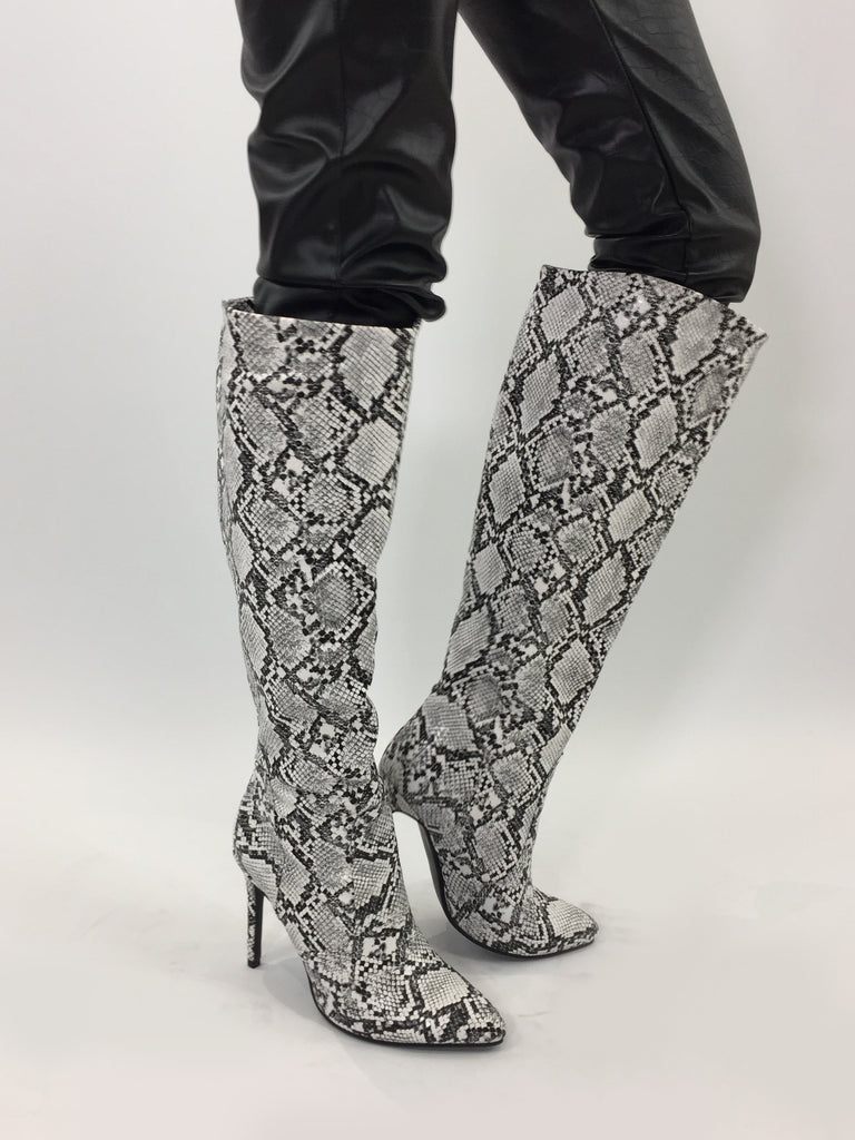 Sample Sale - White Python Boots