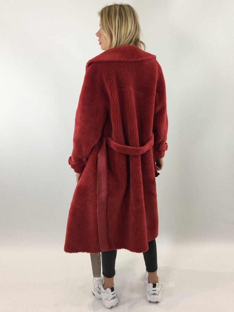 Sample Sale - Red Faux Shearling Teddy Trench Coat