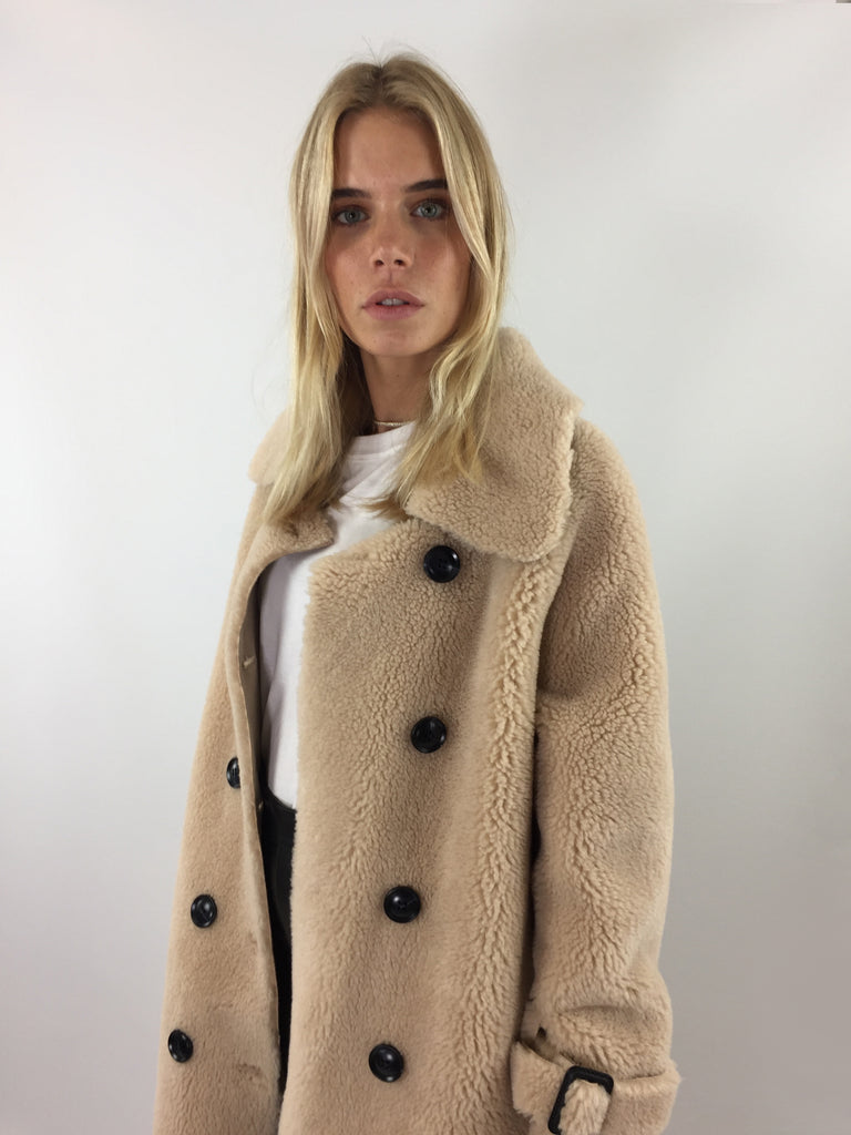 Sample Sale - Beige Faux Shearling Teddy Trench Coat