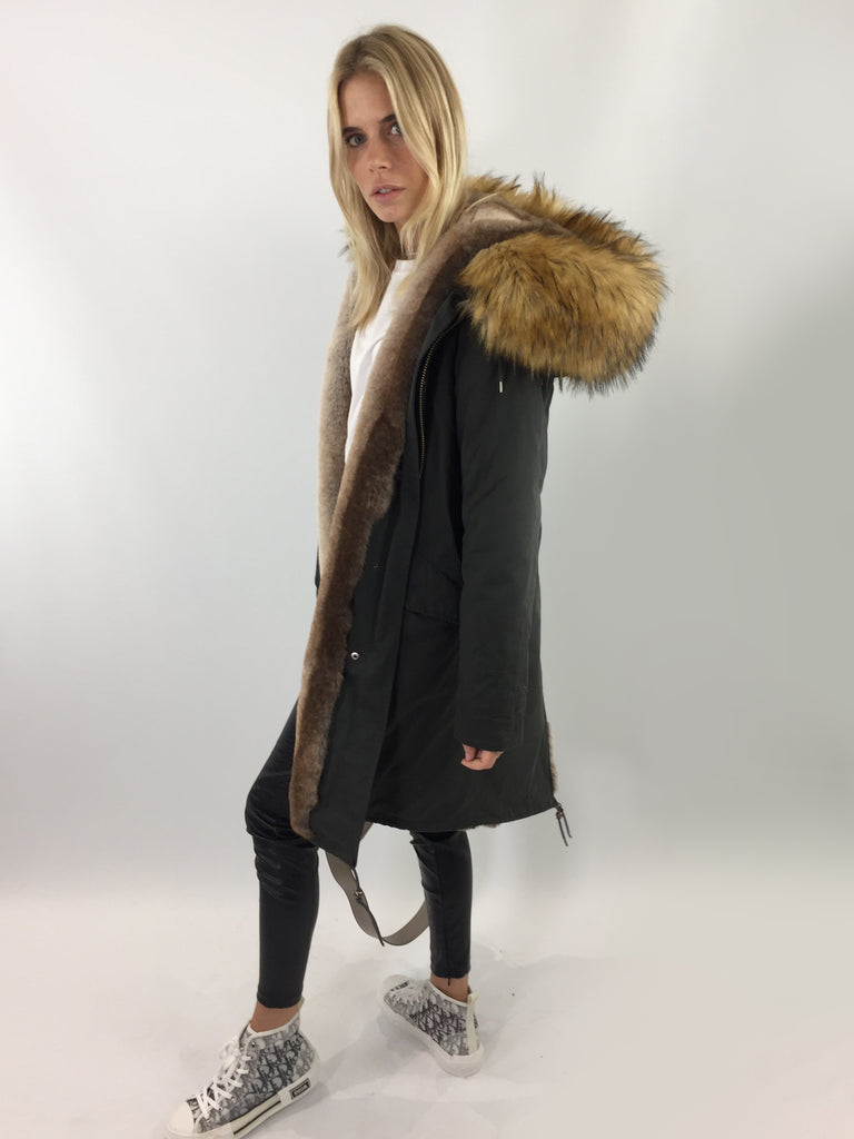 Sample Sale - Bobo long [Dark Green Cotton Outer/ Faux lining/ Faux Fur Hood]