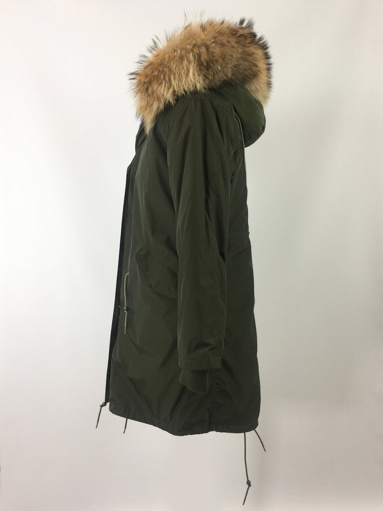 Sample Sale - Natasha long [Dark Green Nylon Outer/ Faux lining/ Real Fur Hood]