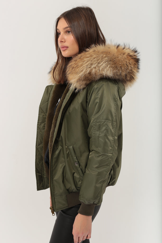 Classic Bomber Jacket With Faux Fur Lining & Raccoon Fur Hood - Green/Natural