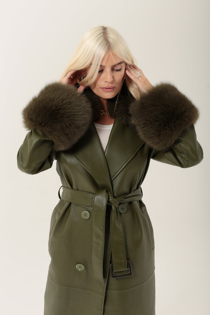 Marta Leather Green with Real Fur