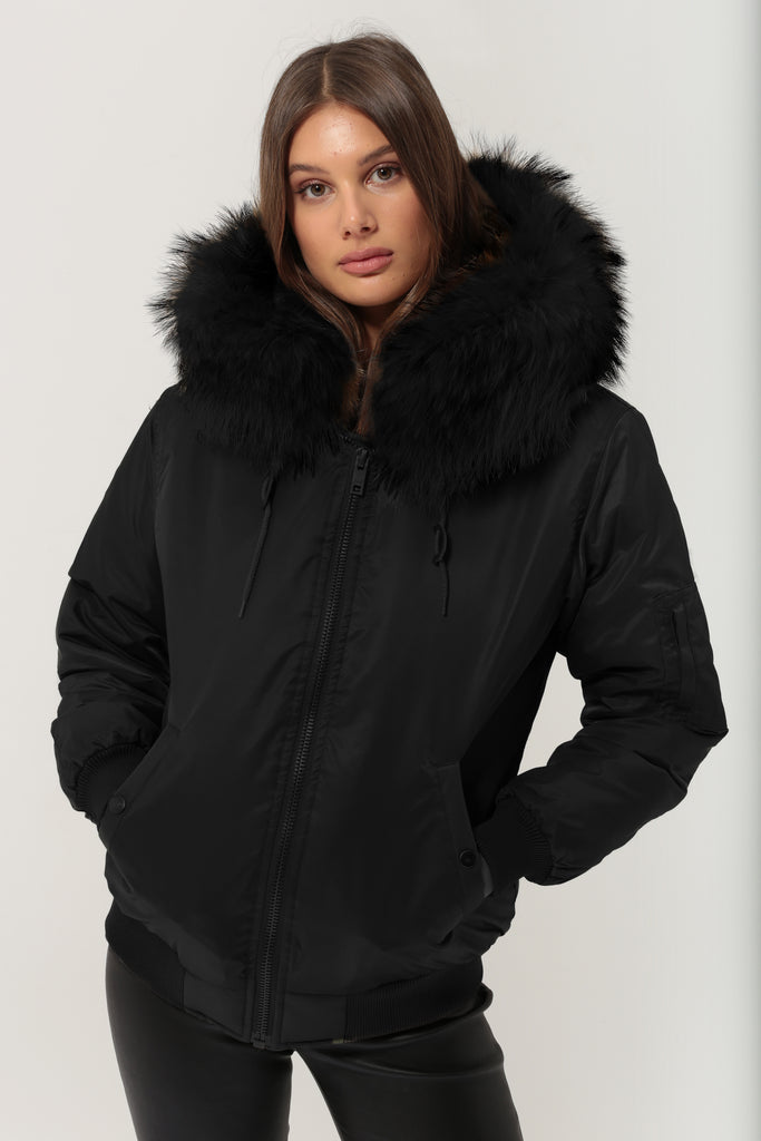Classic Bomber Jacket With Faux Fur Lining & Fox Fur Hood - Black