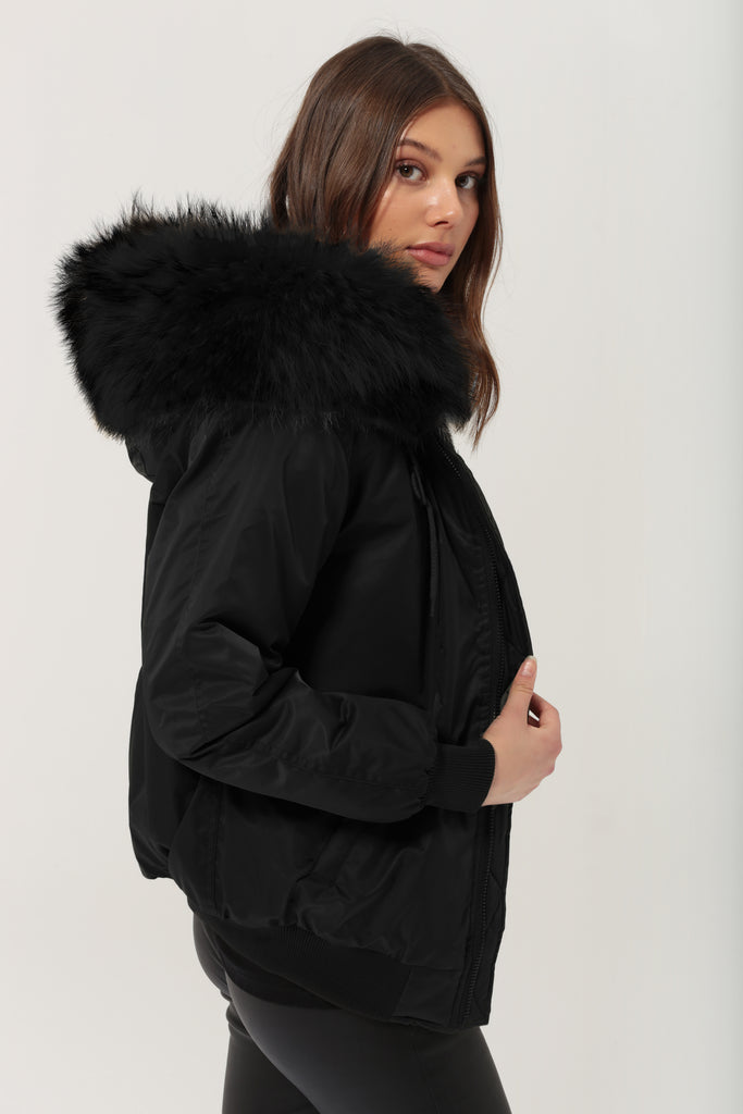 Classic Bomber Jacket With Faux Fur Lining & Fox Fur Hood - Black - PRE-ORDER