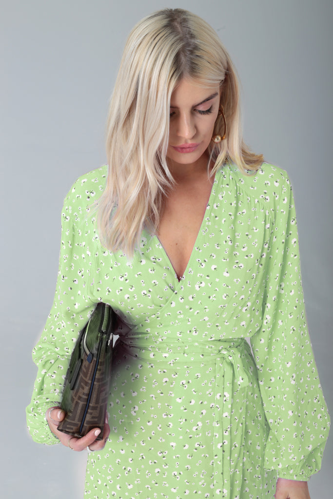 Pre-Order: Tallulah | Mint Green Printed Wrap Dress (March 2019 Delivery)