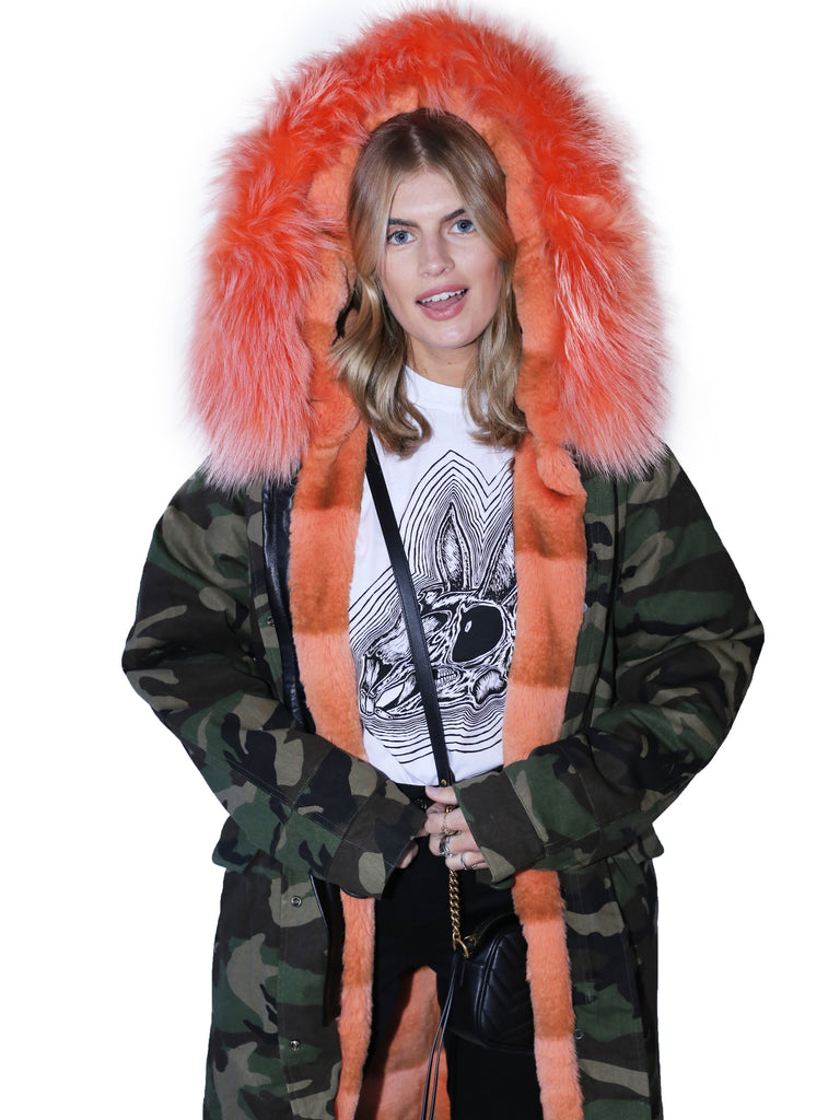 Camouflage Long Parka - Tangerine