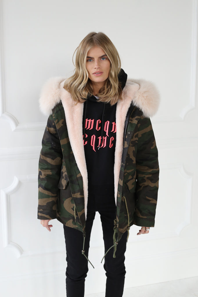 Camouflage Short Parka - Nude