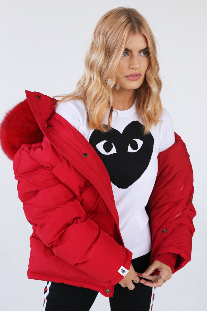 Puffer Jacket With Fox Fur Hood