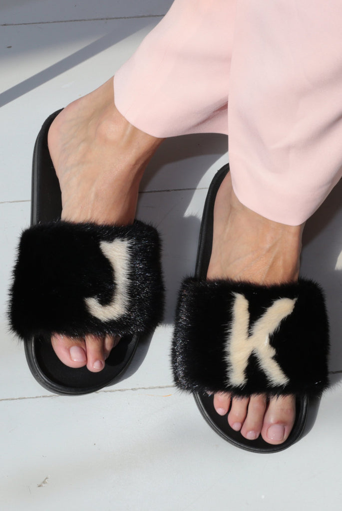 Personalised Black & Cream Mink Fur Slides