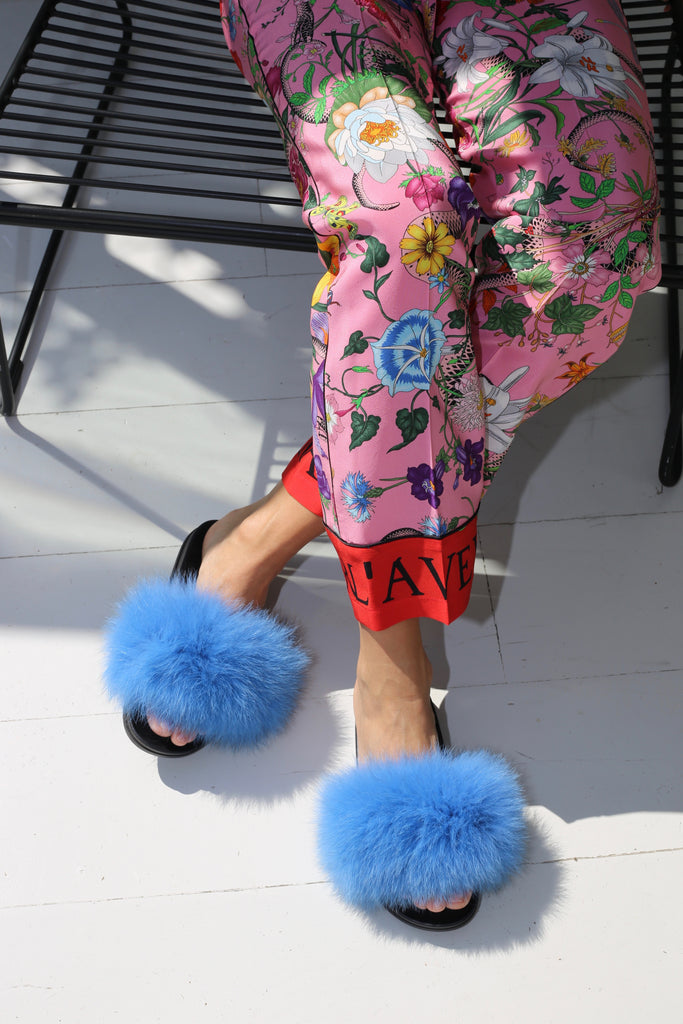 Fox Fur Slides - Azure Blue