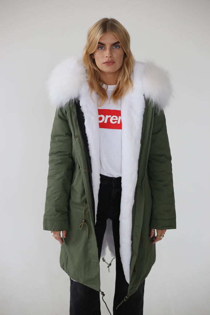 Long Parka Jacket With White Fur Lining & Hood