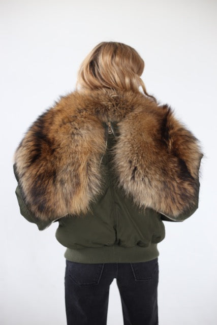 Green Air Bomber - Raccoon Fur Lined Hood