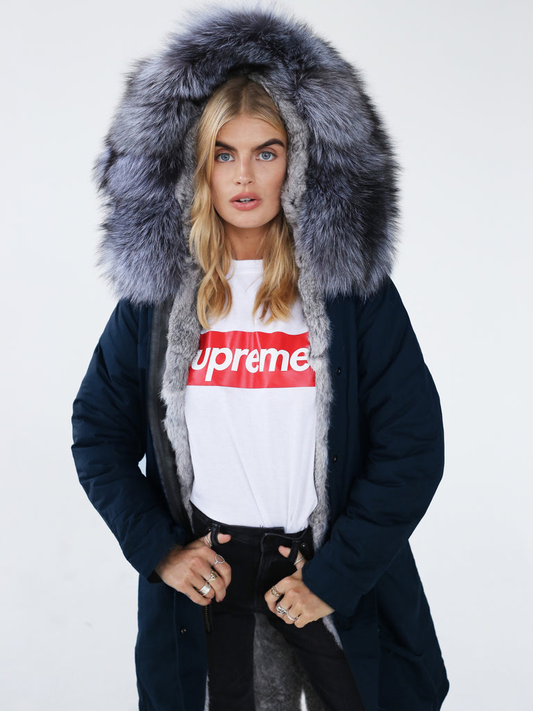 Long Parka Jacket With Fur Lining & Hood