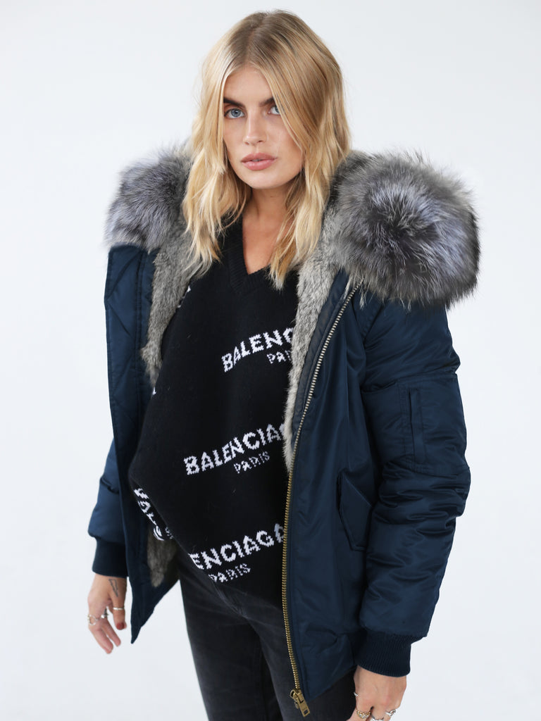 Classic Bomber Jacket With Real Fur Lining & Hood - Navy/Grey