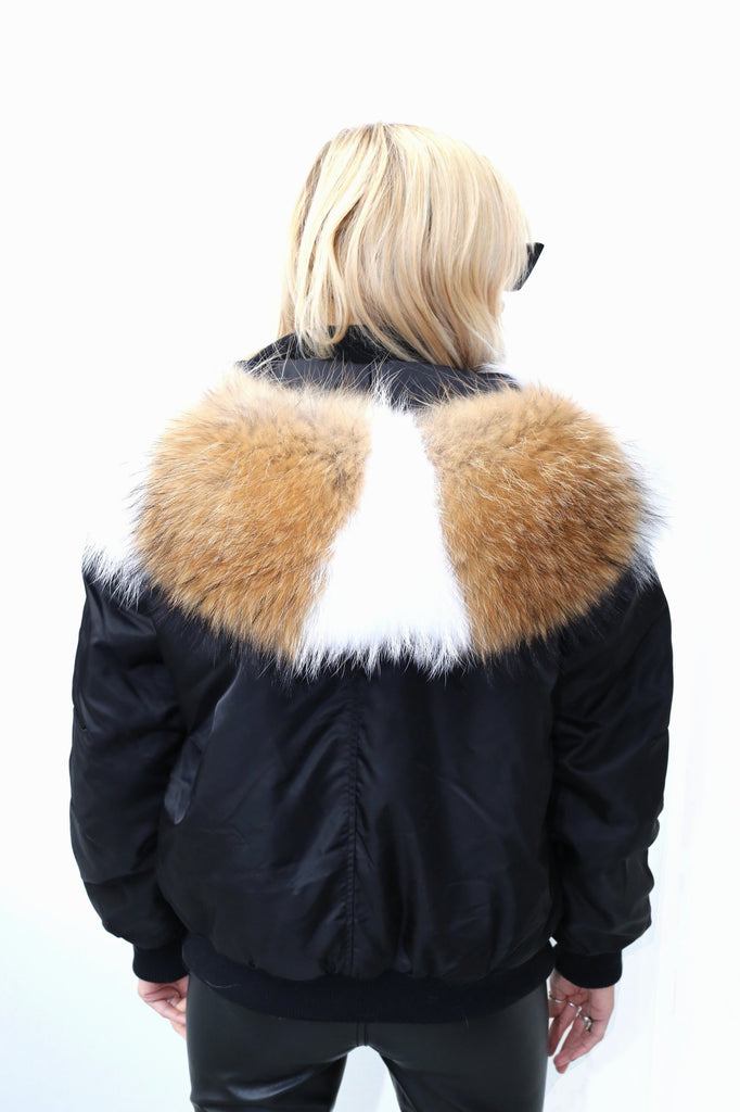 Classic Bomber Jacket With Real Fur Lining & Hood - Black/Multi