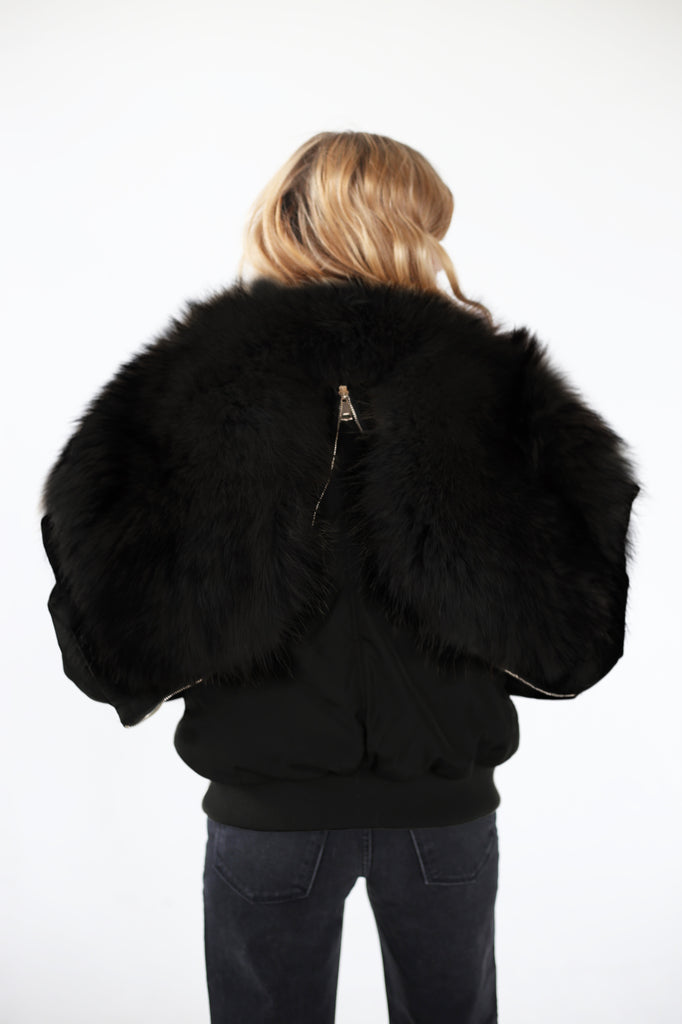 Black Air Bomber - Black Fur Lining
