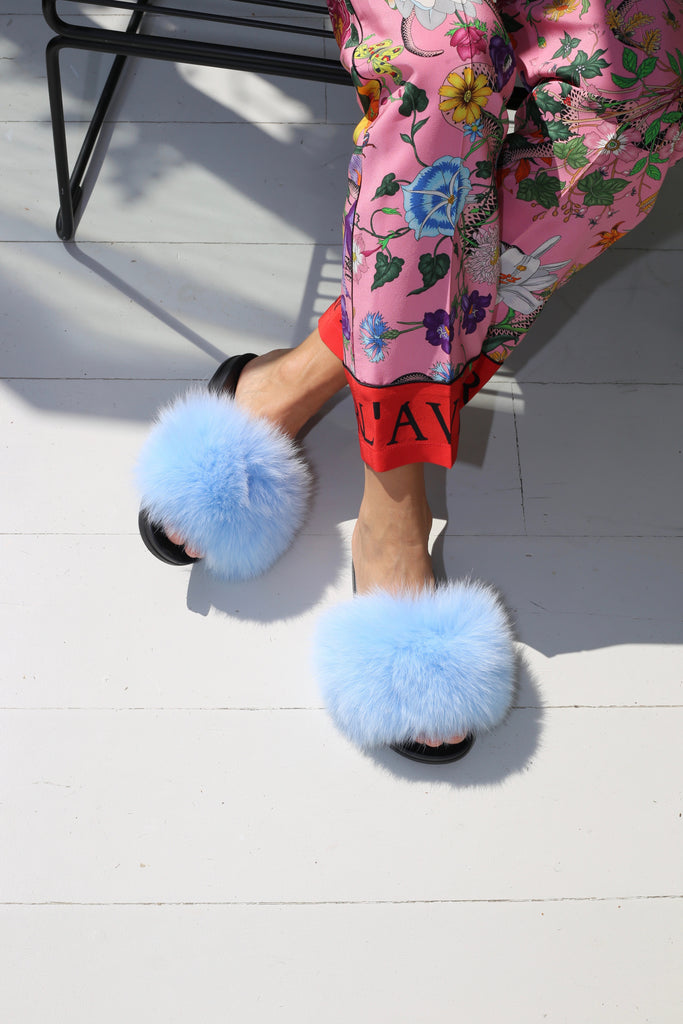 Fox Fur Slides - Ice Blue