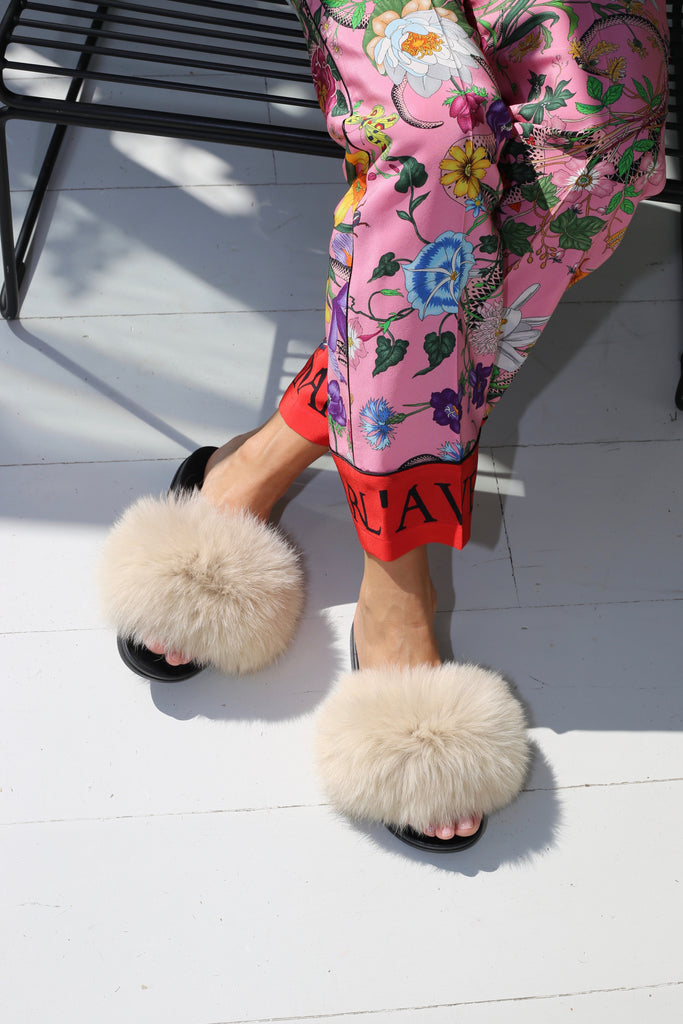 Fox Fur Slides - Cream