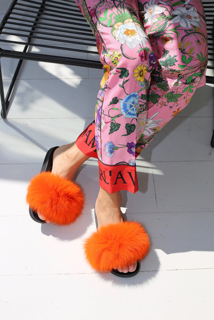 Fox Fur Slides - Orange