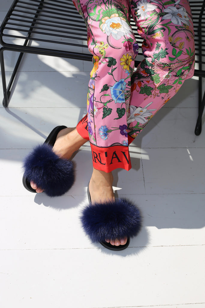 Fox Fur Slides - Navy