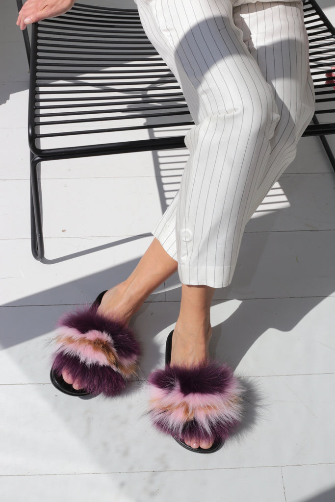 Fox Fur Slides - Purple