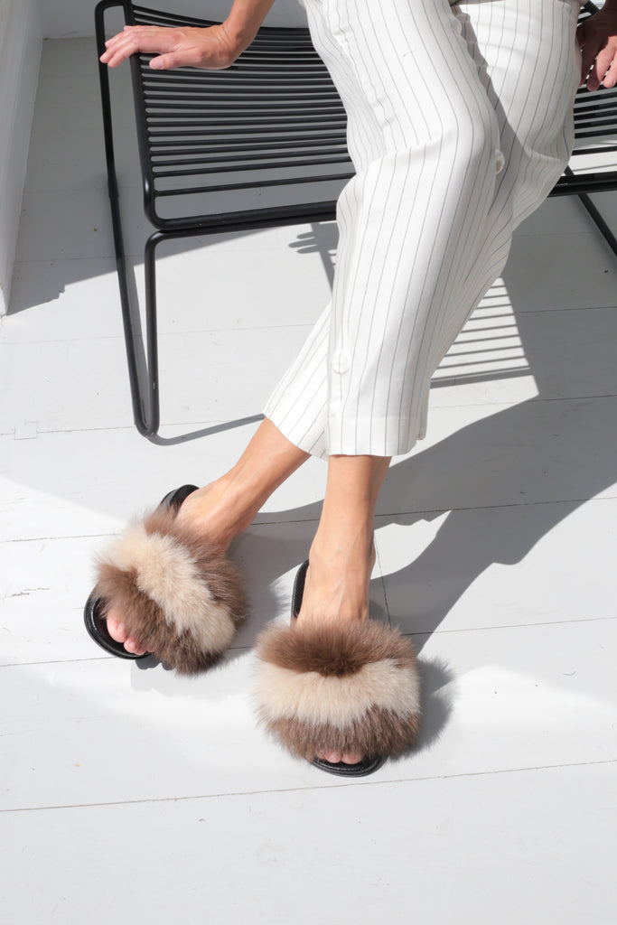 Fox Fur Slides - Taupe Stripe